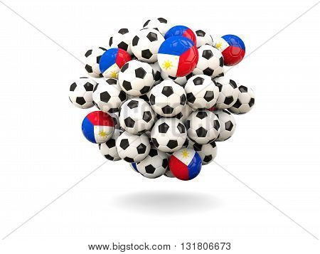 Pile Of Footballs With Flag Of Philippines