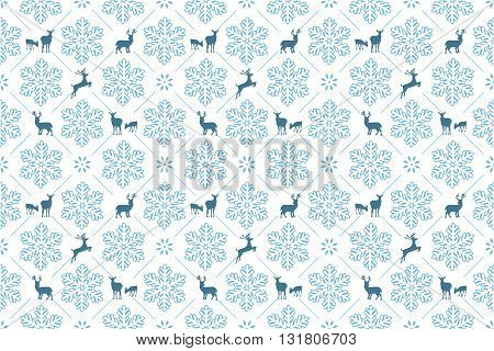 Winter Holiday pattern with Christmas snowflakes and reindeer. Print colors used.