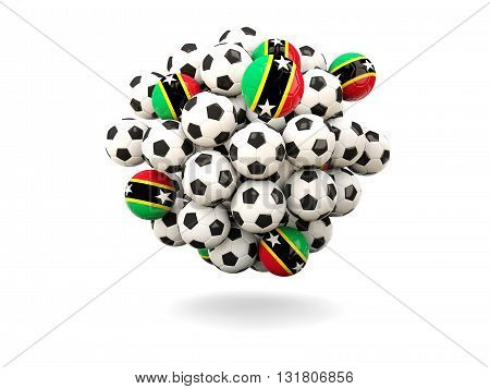 Pile Of Footballs With Flag Of Saint Kitts And Nevis