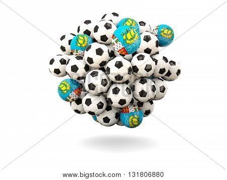 Pile Of Footballs With Flag Of Saint Pierre And Miquelon