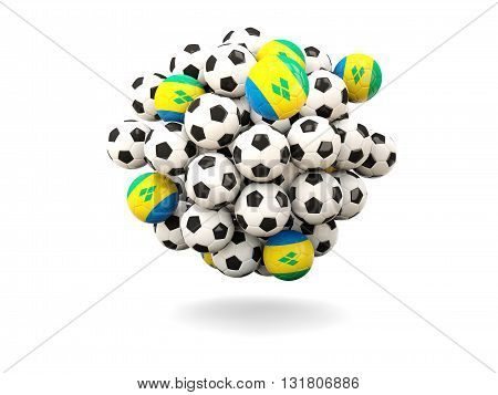 Pile Of Footballs With Flag Of Saint Vincent And The Grenadines