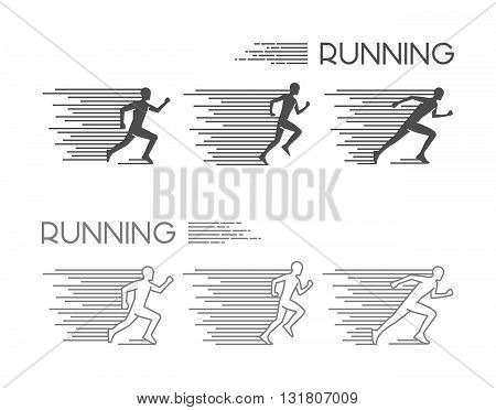 Linear running symbol. Vector figures runners. Outline run icons.
