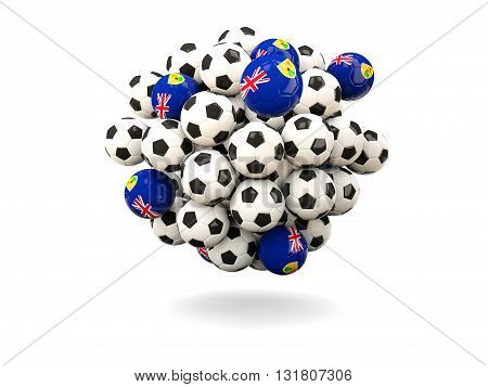 Pile Of Footballs With Flag Of Turks And Caicos Islands
