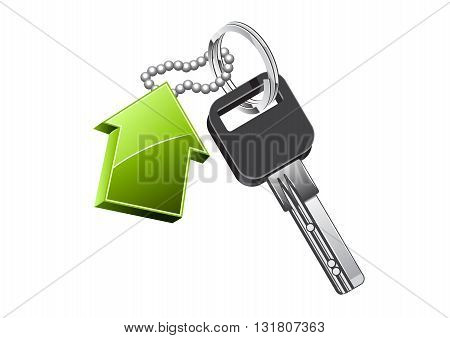 Trinket for keys with green house on white background