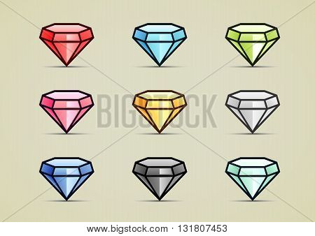 Nine colorful diamonds for creating video game