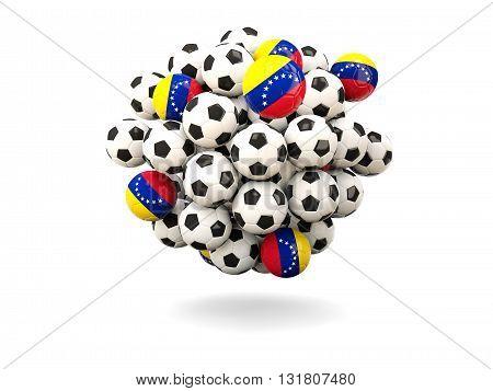 Pile Of Footballs With Flag Of Venezuela
