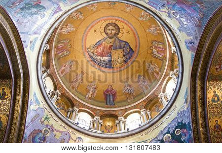 Jerusalem,  Israel - November 2, 2010: The inside dome of the Church of the Holy Sepulchre