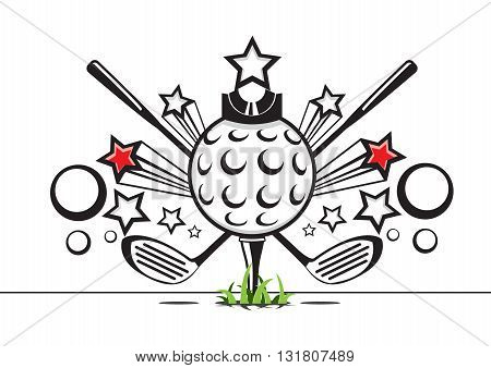 Black and white golf illustration with grass