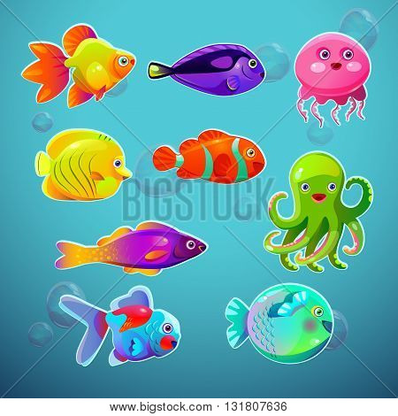 Funny cartoon colorful tropic fishes set, vector aquarium citizens icons, underwater collection