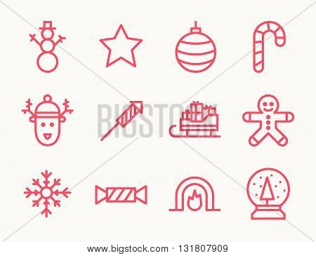 Set of twelve outline Christmas icons with snowman deer cookie guy fireplace and other symbols