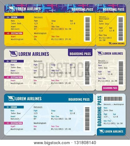 Airplane vector traveling tickets template. Ticket to airplane and flight ticket pass illustration
