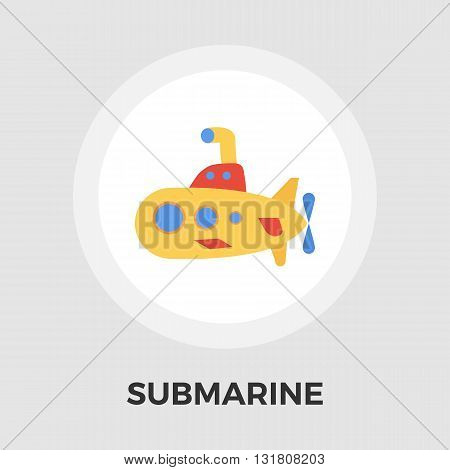 Submarine icon vector. Flat icon isolated on the white background. Editable EPS file. Vector illustration.