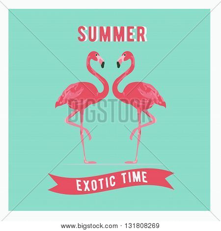 Vector illustration pink flamingo couple. Exotic bird. Summer postercard. Summer logo vector. Cool flamingo decorative flat design element.