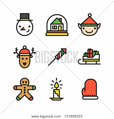 Set of nine colored outline icons for Christmas with snowman head snow globe with house elf and deer head rocket sleigh with gifts ginger cookie man candle and mitten