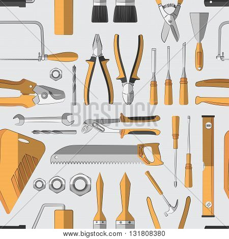 Construction tools pattern of colored icons. Vector illustration