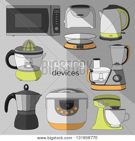 Cooking devices, icons set - food processor, microwave, electric kettle, toaster oven, mixer, kitchen, coffee machine, espresso machine, coffeemaker, blender, jug, water