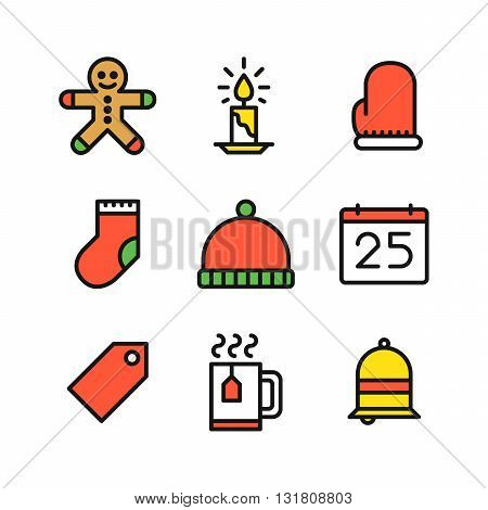 Set of nine Christmas colored outline icons with ginger cookie candle mitten sock hat calendar tag cup with steam and bell