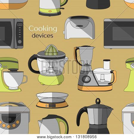 Cooking devices pattern - food processor, microwave, electric kettle, toaster oven, mixer, kitchen, coffee machine, espresso machine, coffeemaker, blender, jug, water