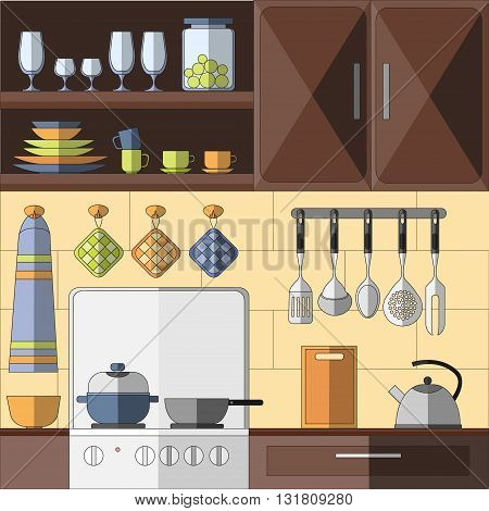 Cooking tools and items set. Hand-drawn design elements. Vector illustration with items for cooking.