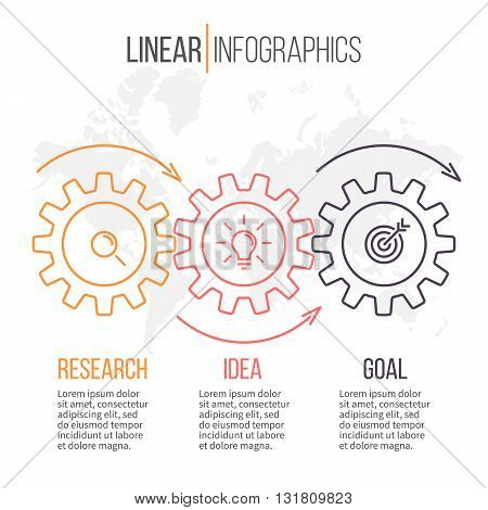 Linear infographics with gears. Business diagram with 3 steps. Vector template.
