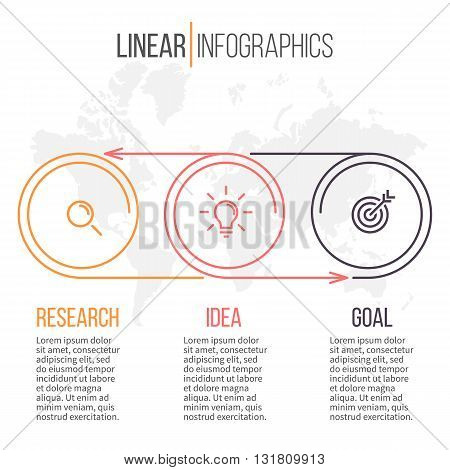 Linear infographics. Timeline with 3 steps. Vector template.