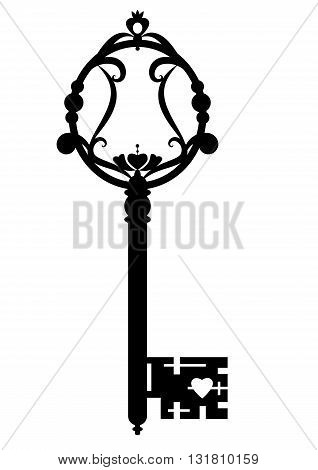 vector illustration of old key in black and white coloor