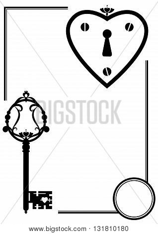 vector set with keyhole and old key in black and white color