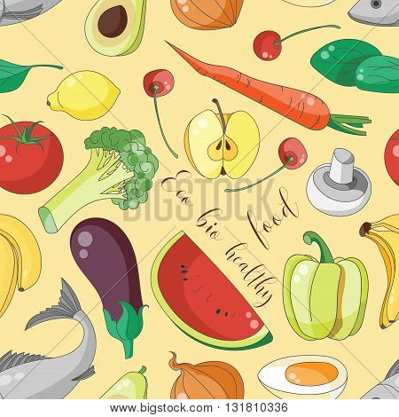 Eco bio healthy food pattern. Isolated vector illustration.