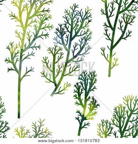 seamless pattern with wild plants drawing in watercolor, green seaweeds, watercolor artistic painting background, hand drawn illustration