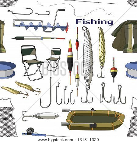 Fishing hand drawn pattern - fishing rod, hooks, bait, boat, fish, anchor, water, beard, chain, compass and other. Vector illustrations