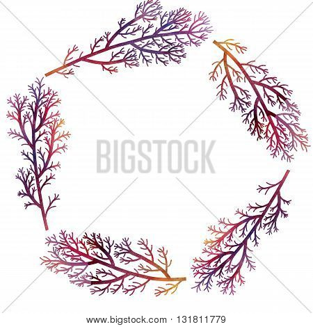 silhouette floral composition with wild plants drawing in watercolor, drawing floral card, round frame, invitation template, purple seaweeds, watercolor artistic painting background