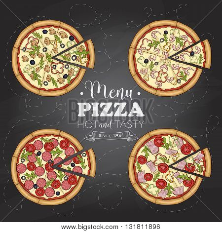 Set of four types of color pizza on a black board. Vector illustration, EPS 10