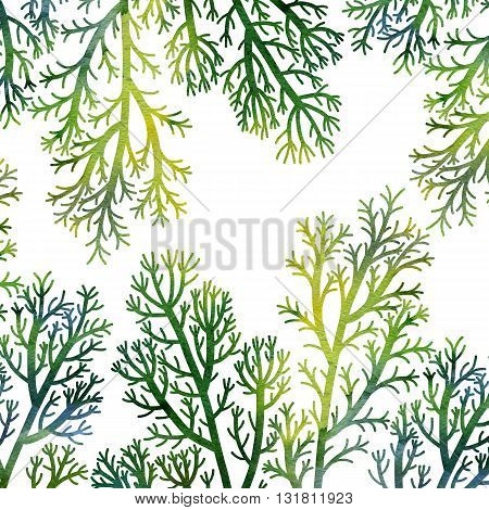 silhouette floral composition with wild plants drawing in watercolor, drawing floral card, green seaweeds, watercolor artistic painting background, hand drawn illustration