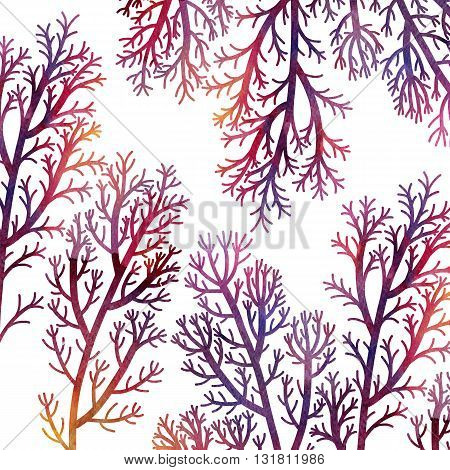 silhouette floral composition with wild plants drawing in watercolor, drawing floral card, purple seaweeds, watercolor artistic painting background, hand drawn illustration