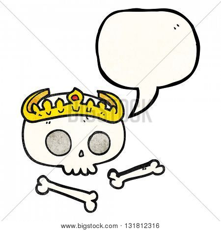 freehand drawn texture speech bubble cartoon skull wearing tiara