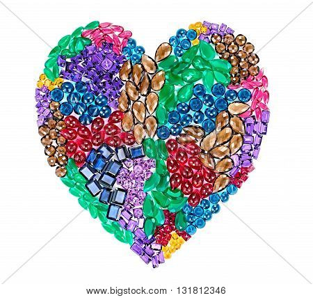 Fashion lot of gemstone heart shape. Luxury shiny glamor colorful placer. Awesome precious stones, multicolored creative unusual party decoration. Love concept.Celebration holiday background, isolated