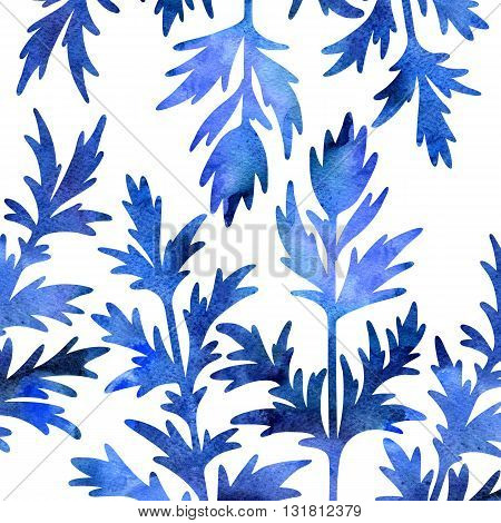blue silhouette floral composition with wild plants drawing in watercolor, drawing floral card, watercolor artistic painting background, hand drawn illustration