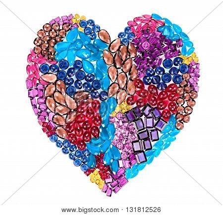 Love concept. Fashion lot of gemstone heart shape. Luxury shiny glamor colorful placer. Awesome precious stones, multicolored creative unusual party decoration.Celebration holiday background, isolated