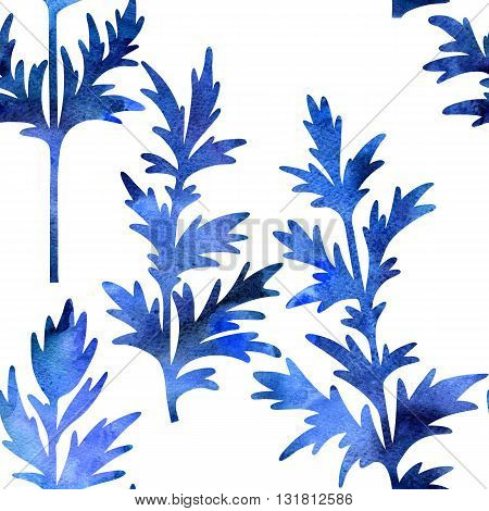 blue silhouette floral seamless pattern with wild plants drawing in watercolor, drawing floral card, watercolor artistic painting background, hand drawn illustration