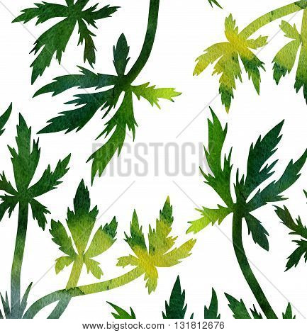 green silhouette floral composition with wild plants drawing in watercolor, drawing floral card, watercolor artistic painting background, hand drawn illustration