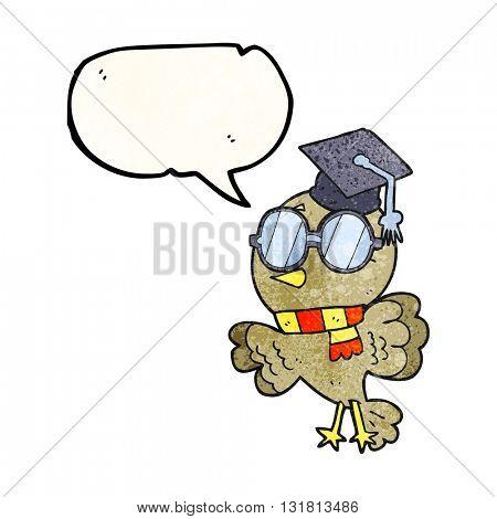 cute freehand drawn texture speech bubble cartoon well educated bird