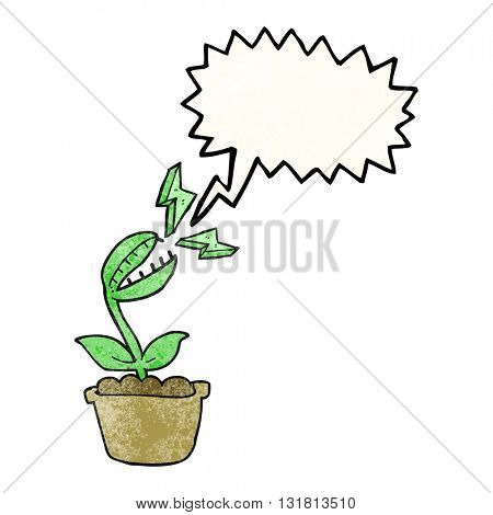 freehand drawn texture speech bubble cartoon venus fly trap