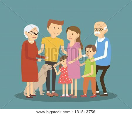 Happy family portrait illustration. Vector flat style characters.
