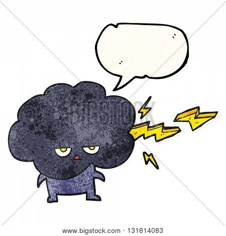 freehand drawn texture speech bubble cartoon raincloud character shooting lightning