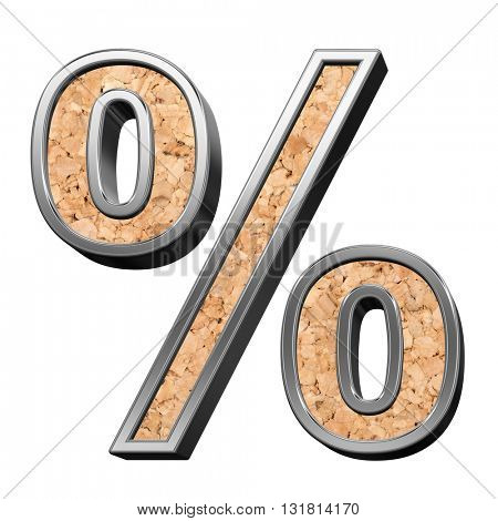 Percent sign from cork with silver shiny frame alphabet set, isolated on white. 3D illustration.