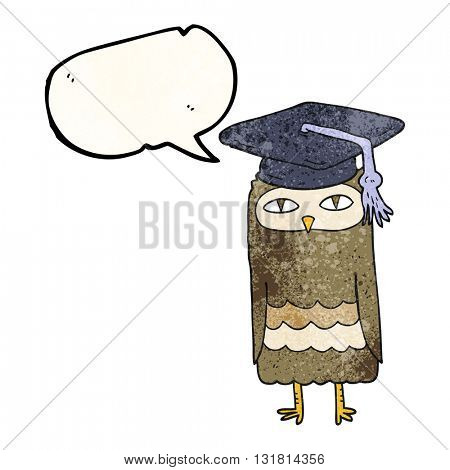 freehand speech bubble textured cartoon wise owl