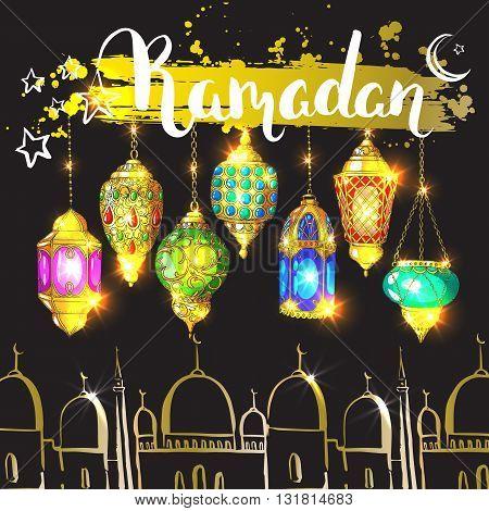 Ramadan Kareem. Islamic holiday golden vector background. Modern calligraphy. Ink hand drawn inscription. Typography. Brush lettering. Mosque arabic shiny lantern and ink inscription Ramadan.