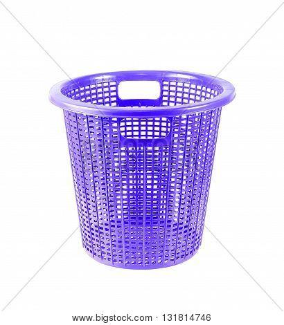 blue plastic basket isolated on white background