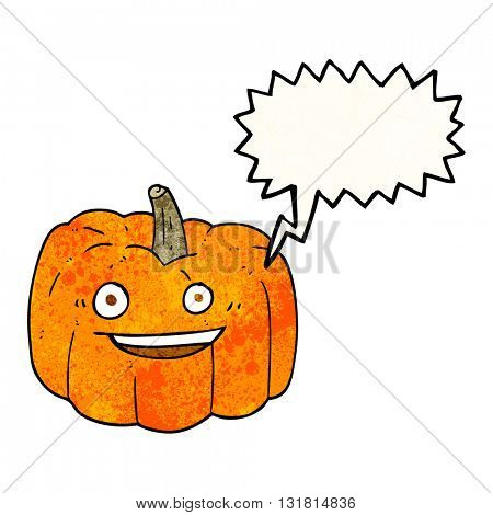 freehand speech bubble textured cartoon halloween pumpkin