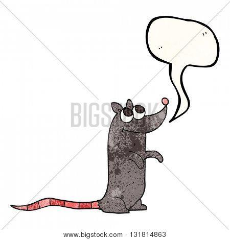 freehand speech bubble textured cartoon rat